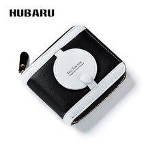HUBARU Frauen Geldbörsen Reißverschluss Spiegel Kurze Weibliche Mode PU Kupplung Schlanke Design Geldbörse Clamp Dünne Brieftasche