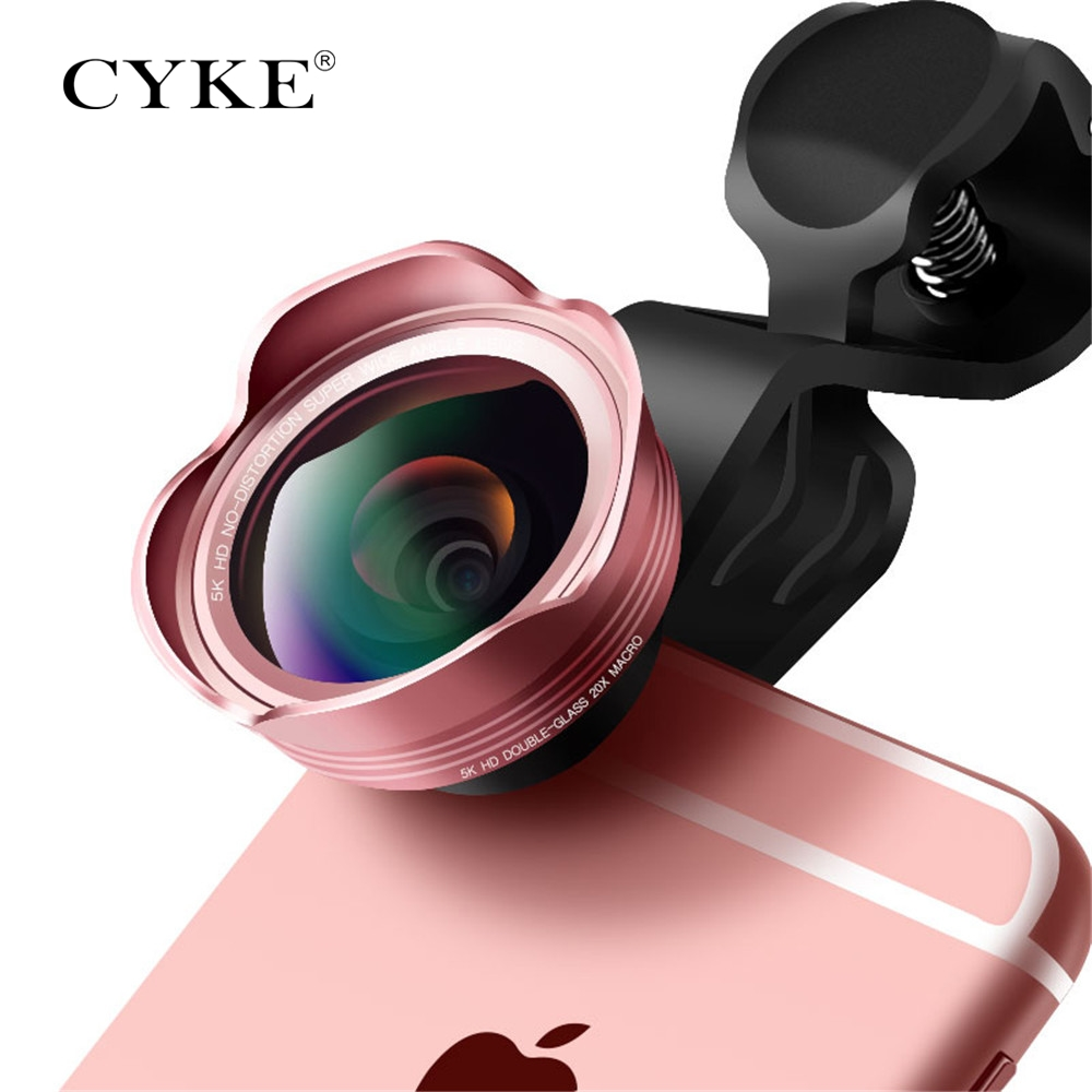 CYKE Fish eye Lens 3 in 1 Clip-on Cell Phone Camera 198 Degree Fisheye Lens+Wide Angle+Macro Lens for iPhone 6 Xiaomi & More