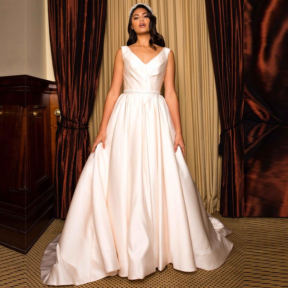 2019 Casual Simple Satin Wedding Dress A Line V Neck