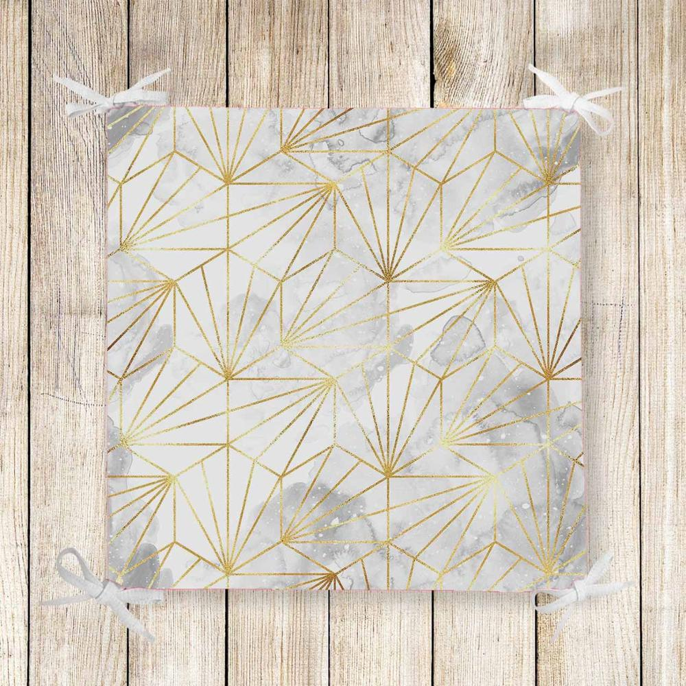 Else White Gray Clouds Yellow Lines 3d Print Chair Pad Seat Cushion Soft Memory Foam Full Lenght Ties Non Slip Washable Zipper