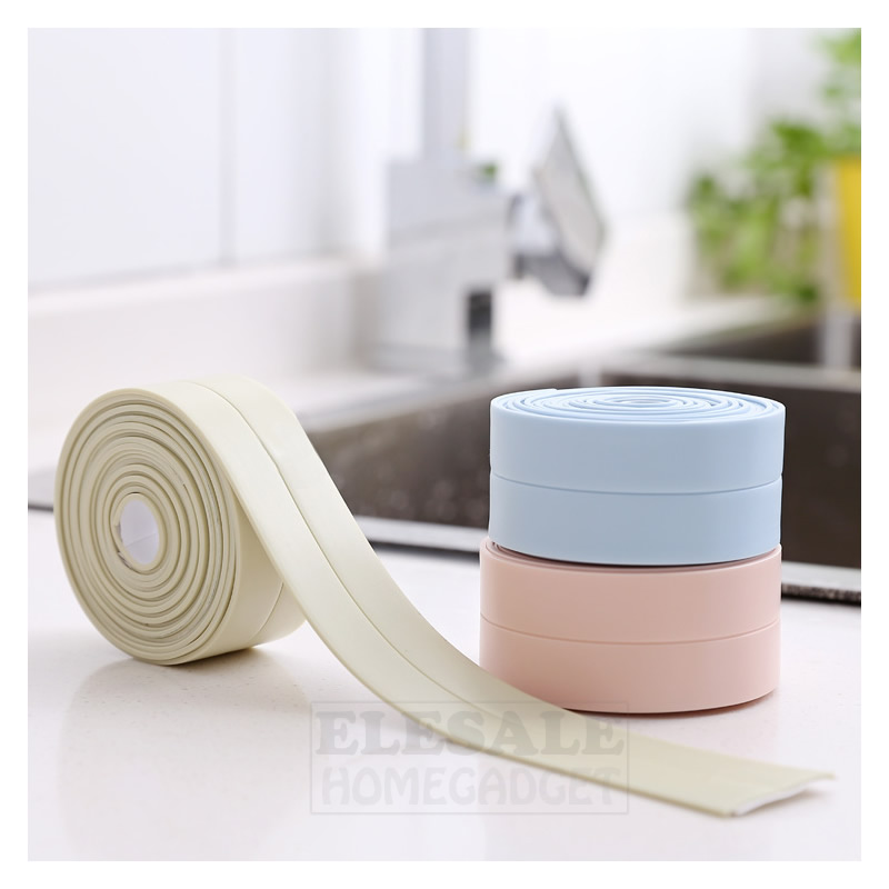 Waterproof Mildew Proof PVC Self-Adhesive Tapes For Kitchen Sink Toilet Concern Crevice Sticker Soft Bumper Strip 3cm X 255cm