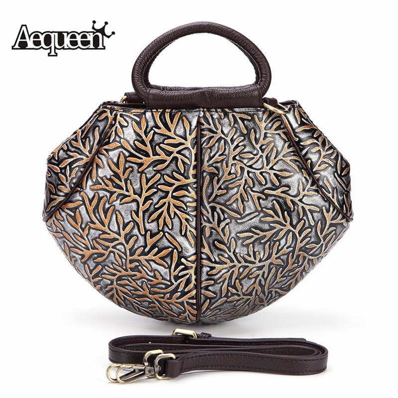 AEQUEEN Women Genuine Leather Handbags Embossed Shoulder Bag Triangle Ladies Totes Cow Leather Small Messenger Crossbody Bag New цена и фото