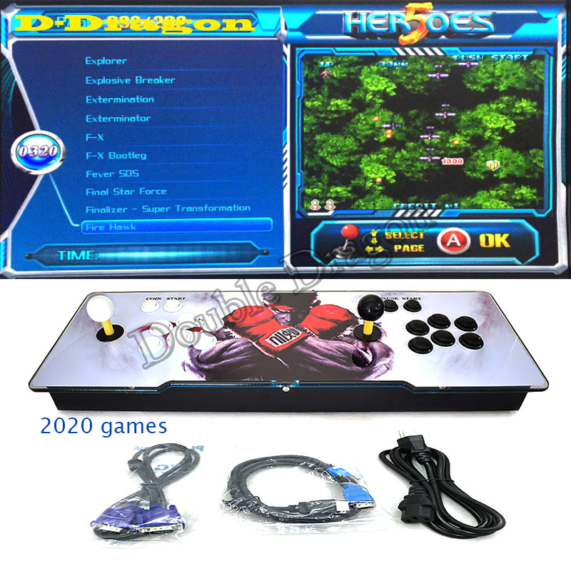 2020 in 1 arcade Pandora joystick zero delay 2 players HDMI VGA arcade game LED console heroes 5 for children play with home TV