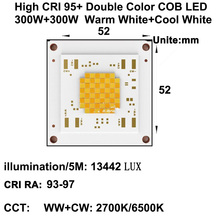 MARSWALLED High CRI RA 95+ Power Density 300W+300W Four Channel CCT Tunable COB LED Warm White + Cool DC49V 6.1A