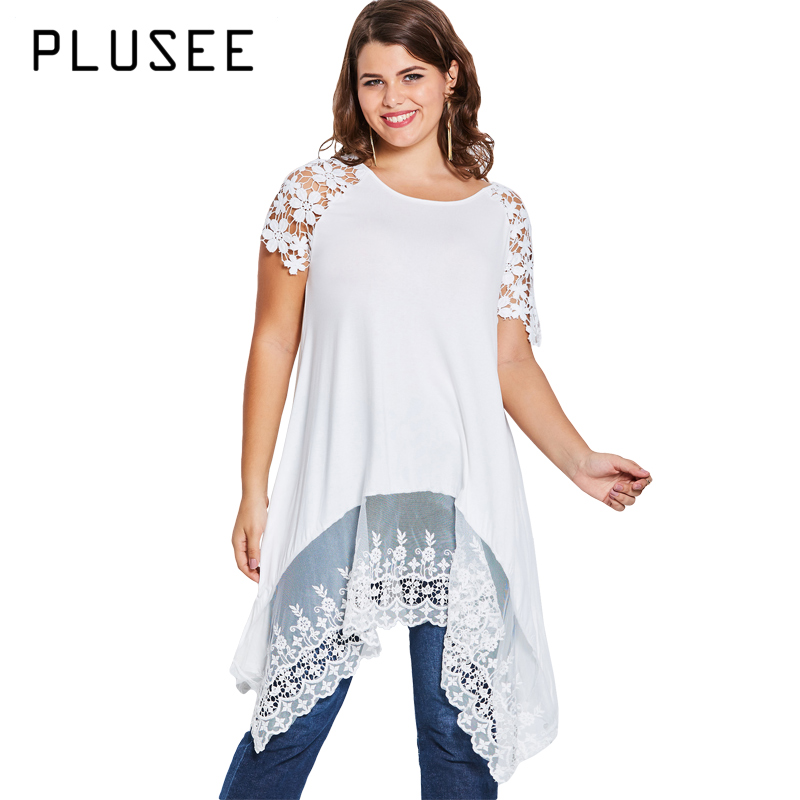 Plusee Plus Size Summer Crochet Short Sleeve White Blouse Oversize Lace Patchwork Long Blusas Irregular Ladies Stylish Tops 4XL