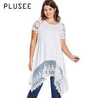 Plusee Plus Size Summer Crochet Short Sleeve White Blouse Oversize Lace Patchwork Long Blusas Irregular Ladies