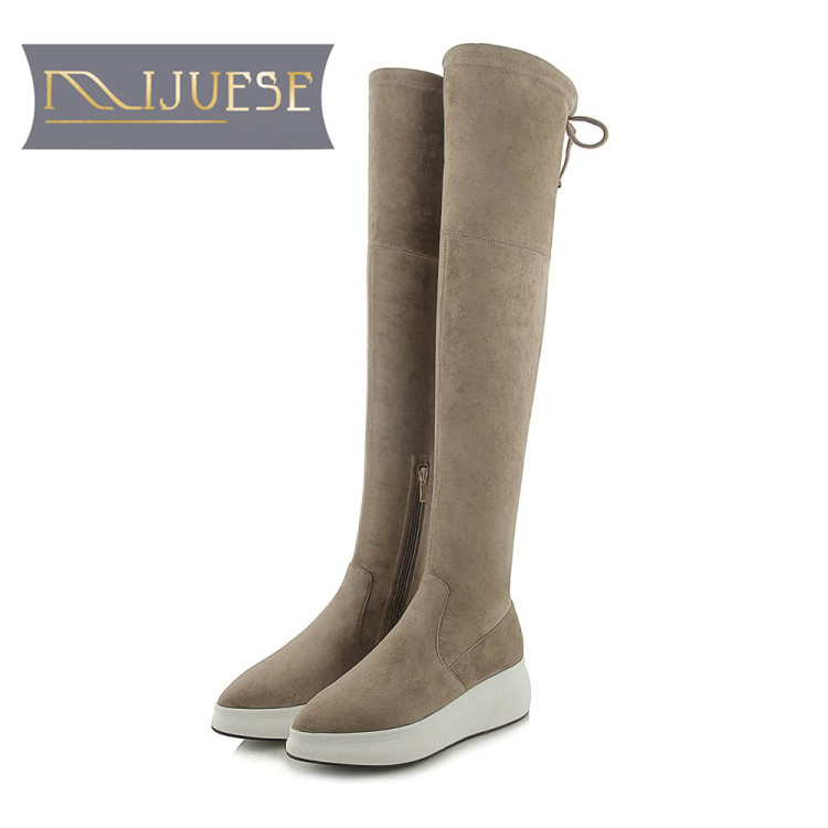 MLJUESE 2019 women over the knee Kid Suede lace up winter short plush flat boots pointed toe high boots female women boots цены
