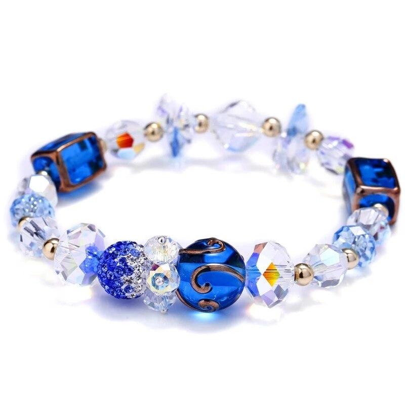 SWAN JEWELRY handmade Luxury Austria crystal elegant blue glass beads shinning rhinestone ball charm bracelet Girl jewelery gift rhinestone glass ball dry sakura earrings