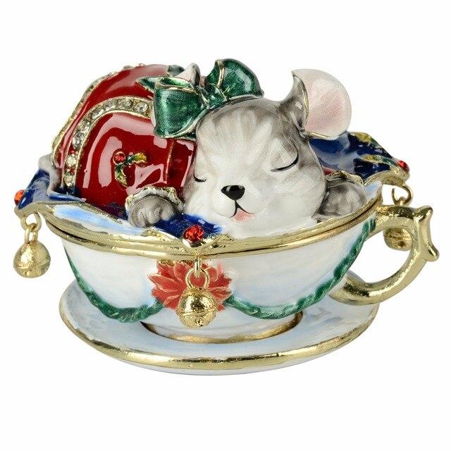 Frete grátis decoração Do Vintage caixa de rato animal jewerly caixa do trinket caso do anel caixa de jóias caixa de presente de aniversário presentes de Natal