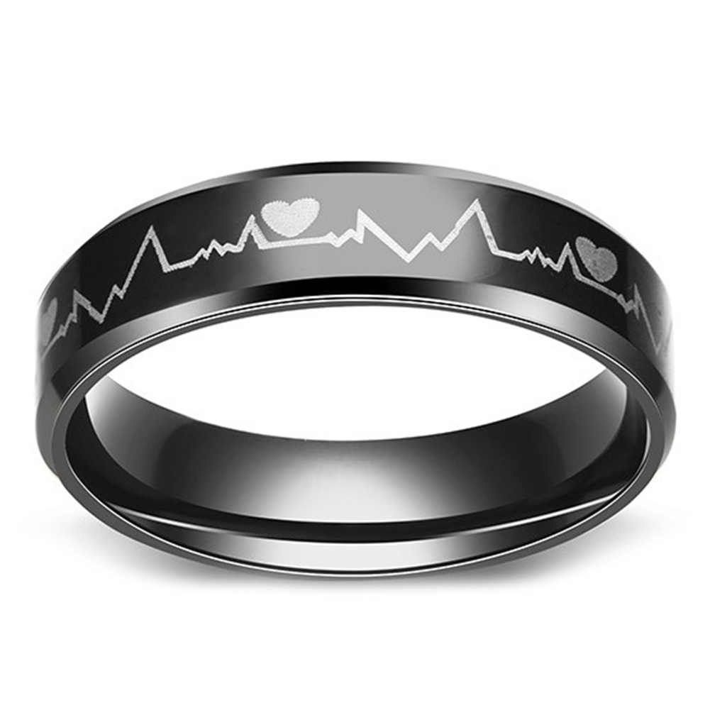 d9809cd9ac Titanium Steel Ring Black Electrocardiogram Heartbeat Rings For Men Rock Ring  Jewelry can dropshiping