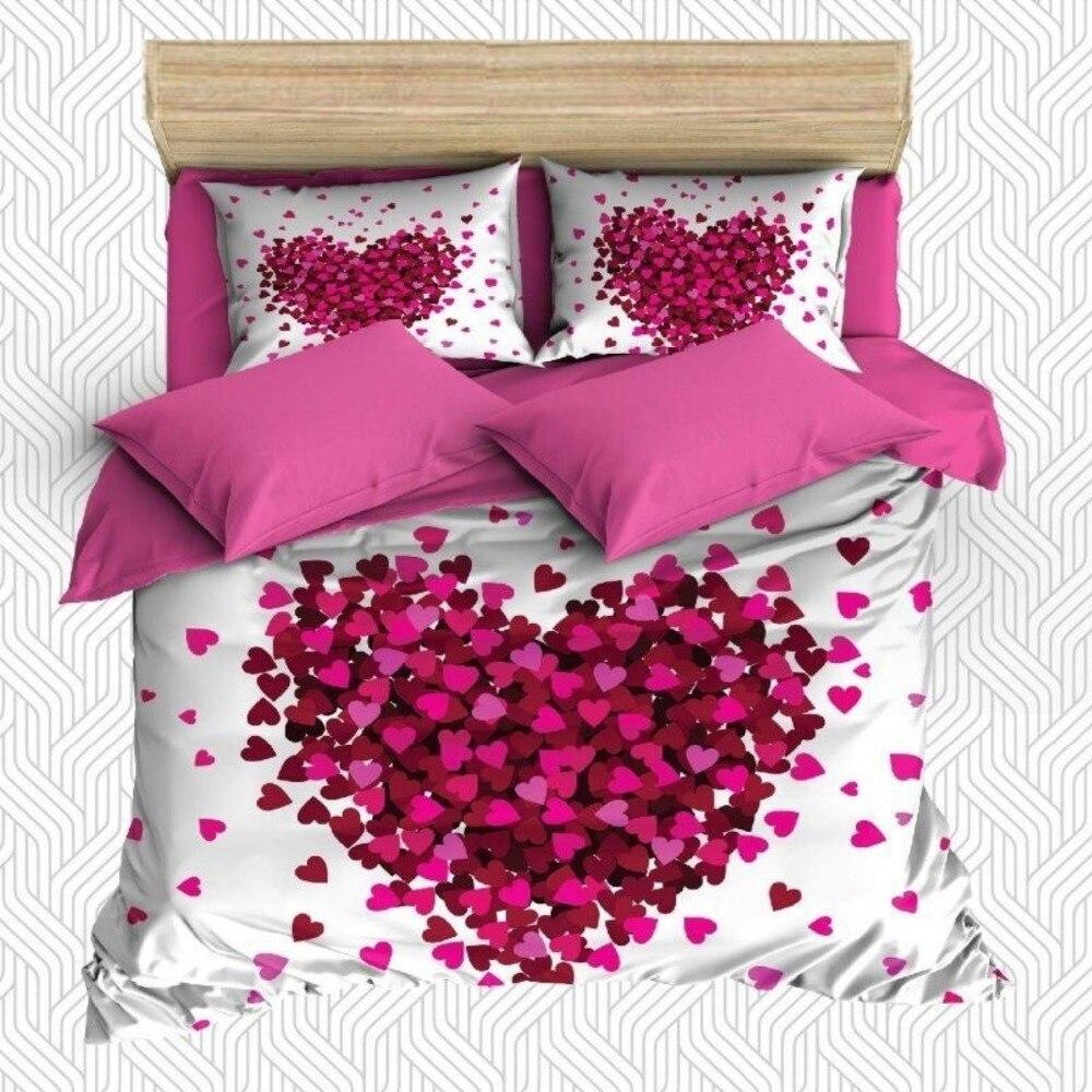 Other 6 pièces coeurs roses sur sol blanc amour thème impression 3D coton Satin Double housse de couette literie ensemble taie d'oreiller drap de lit