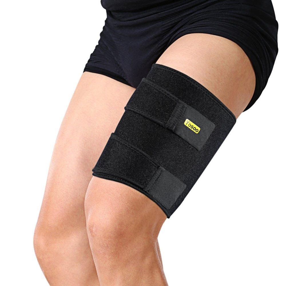 Yosoo Leg Thigh Wrap Silicone Anti-slip Strips Adjustable Sprain Brace Support For Pulled Hamstring Strains Injury Recovery Belt