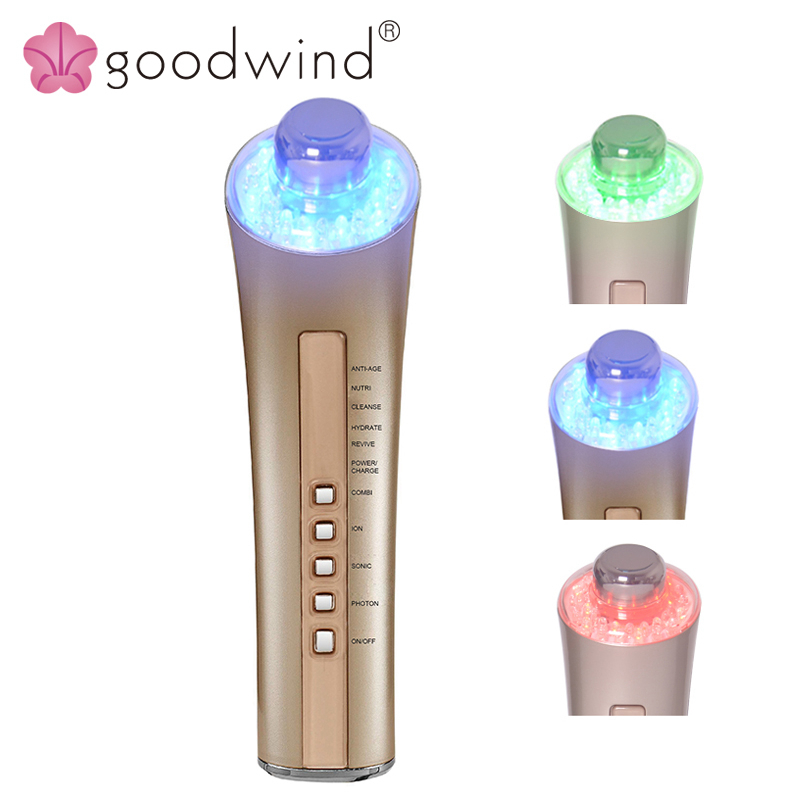 La Goodwind 6 IN 1 Beauty Anti-aging Skin Care Machine Facial Photon Rejuvenation Face Skin Care Tools Acne Wrinkle Remover deep face cleansing brush facial cleanser 2 speeds electric face wash machine