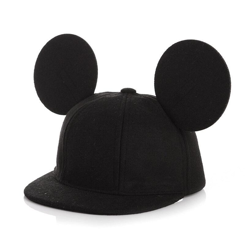 Seioum wool Womens Cartoon Cute Big Mouse Ears Eyes Snapback Hats men   Cap   Hip Hop   Baseball     Caps   Female Topee Sun Hat For Women