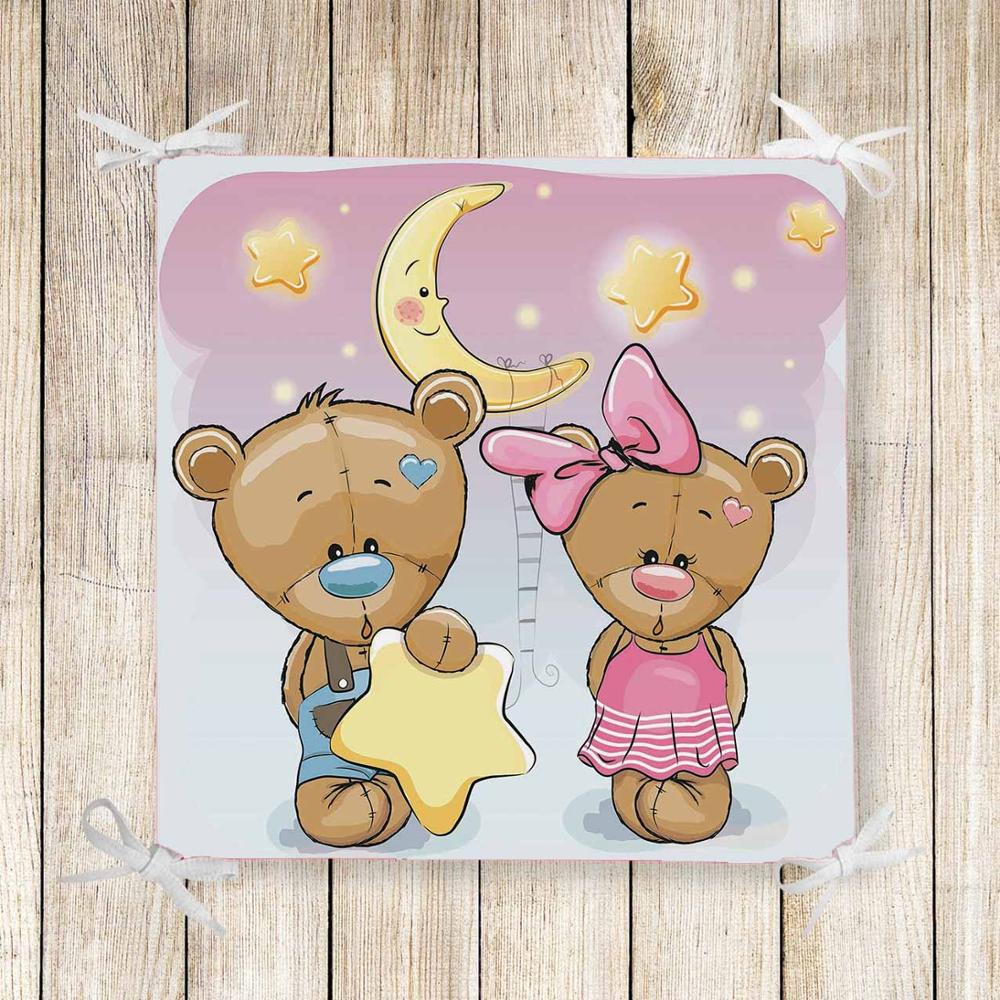 Else Pink Boy Girl Bears Stars Moon 3d Print Chair Pad Seat Cushion Soft Memory Foam Full Lenght Ties Non Slip Washable Square