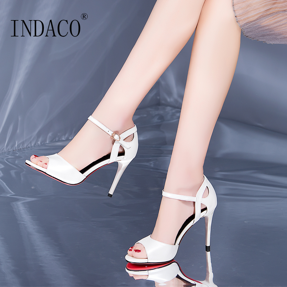 White Sandals Women Shoes High Heels Sandals Women Leather Ankle Strap Sexy Fashion 9cm