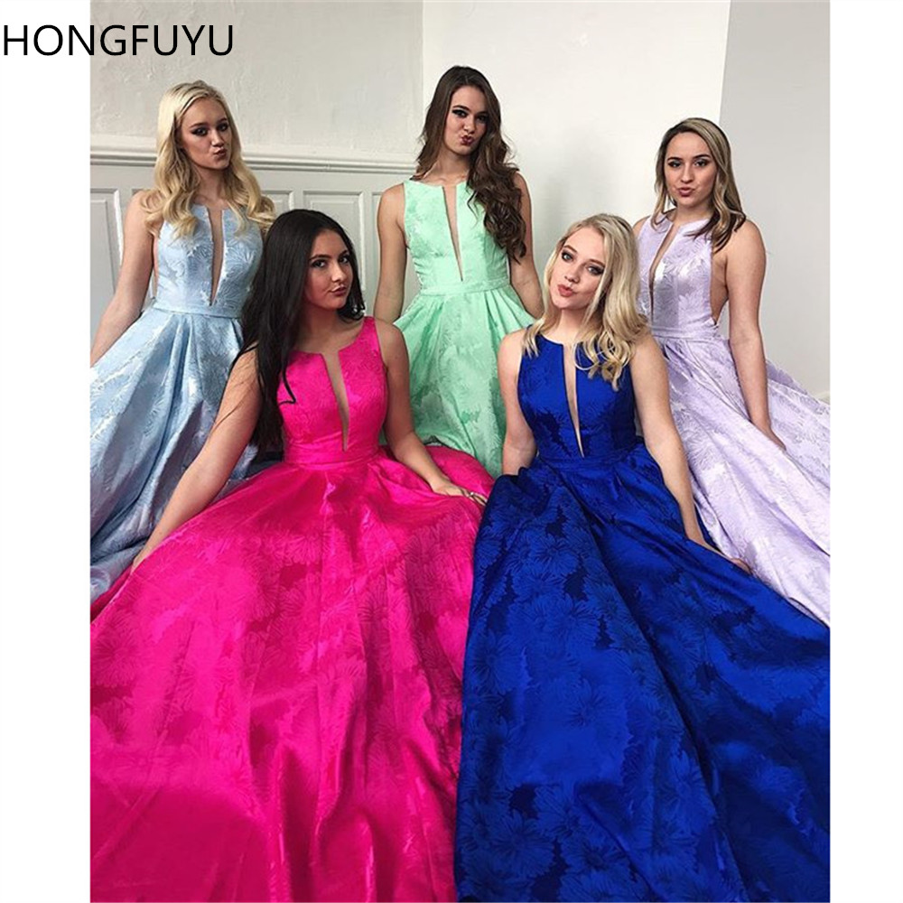 HONGFUYU Satin   Prom     Dresses   Ball Gown with Cut Out Bodice Flower Appliques Sleeveless Evening   Dress   Special Occasion Party Gowns