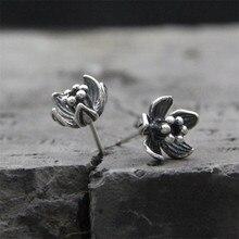Vintage 925 Sterling Silver Stud Earring Cute Flower boucle d'oreille 925 Antique Thai Silver Earrings For Women Jewelry TYC179