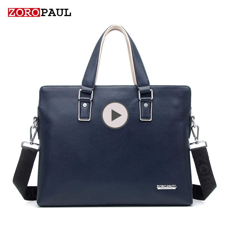 ZORO PAUL Men's Business Handbag High Quality Leather Laptop Computer Office Bag Briefcase Men Shoulder Bag Male Messenger Bags new high quality male leather men laptop briefcase bag 14 inch computer bags handbag business bag single shoulder business bags
