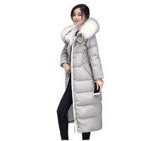 Женские зимние куртки хлопка Длинный отрезок с капюшоном верхняя одежда мода меховой воротник толщиной Пальто женщина