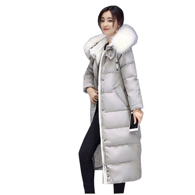 Của phụ nữ mùa đông bông áo khoác phần Dài trùm đầu khoác thời trang lông thú cổ áo dày Áo Khoác nữ