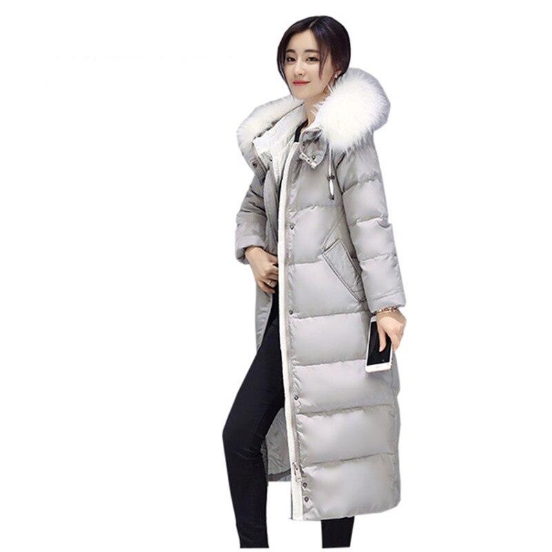 Femmes hiver coton veste Longue section à capuchon de survêtement de mode col de fourrure épais Pardessus femelle