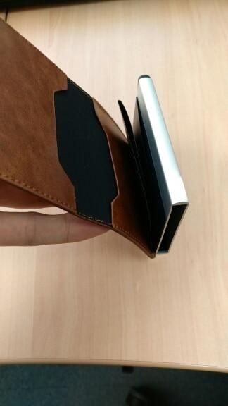 Aankomst nieuwe mannen blokkeren Rfid portemonnee Mini lederen zakelijke aluminium creditcardhouder portemonnee automatische pop-up kaart geval photo review