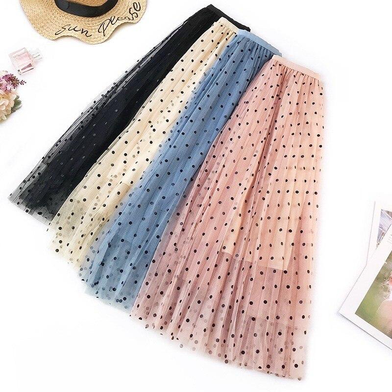 Tulle Skirt Women Fashion 2019 Spring Elegant Polka Dot Long Skirt Female High Waist Pleated Midi Skirt Black White Pink