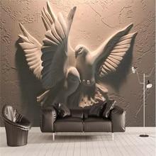3D three-dimensional embossed flying pigeon TV sofa wall custom high-end mural factory wholesale wallpaper mural photo wall пользовательские 3d обои для стены sunny blue sky flying bird photo wall mural креативная настенная бумага для комнаты для рабочего стола