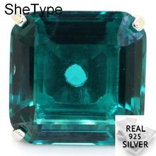 wellmade solid sterling silver square ring silver signet ring Big Heavy 14.2g Square Gemstone 22x22mm Blue Aquamarine Party Man 925 Solid Sterling Silver Ring 22x22mm