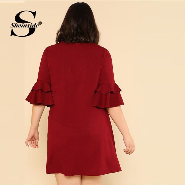 Sheinside Burgundy Ruffle Sleeve Elegant Shift Dress Plus Size Women V Neck Solid Swing Dress Women Clothes 2018 Mini Dresses 1