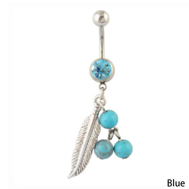 Piercing Navel Ear Ổ Cắm Navel Piercing Fashion Body Đồ Trang Sức Bụng Feathers Nhẫn Trang Sức Thép Không Gỉ 5 màu