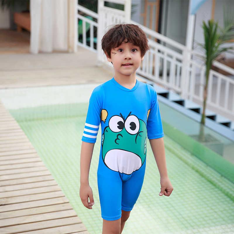 4c548c2d5b675 Летняя Пляжная одежда мальчиков цельный купальник светло-голубой цвет боди  стильная футболка с изображением персонажей