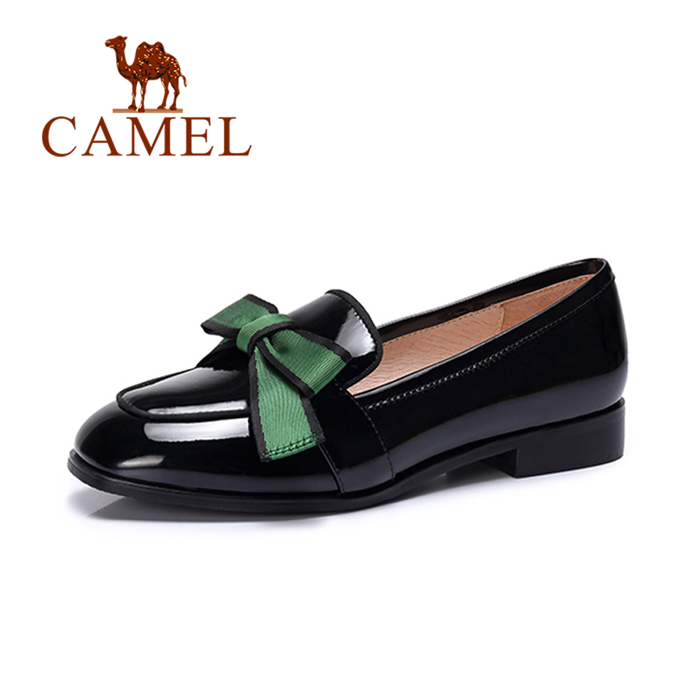 CAMEL 2018 New Ladies Casual Patent Leather Shallow Loafers Shoes Women Retro Fashion Low Heel Round