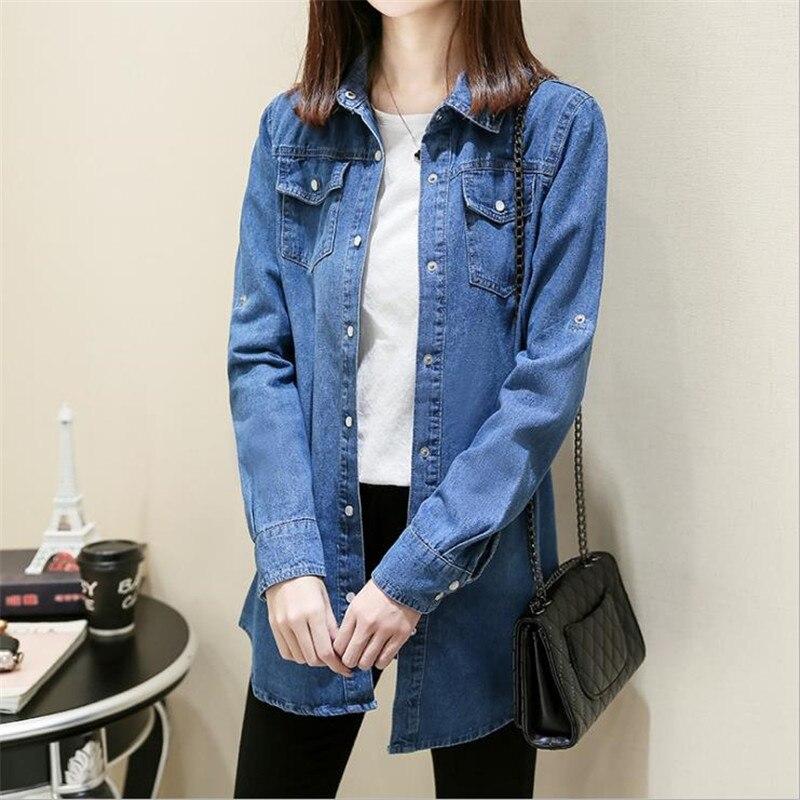 Denim Printemps Manteau dark Casual Femmes 2018 Light Blue Manche Femme Jeans Nouveau Vestes Blue Veste Outwear Longue Automne Cm2767 wtxzqnTdR4