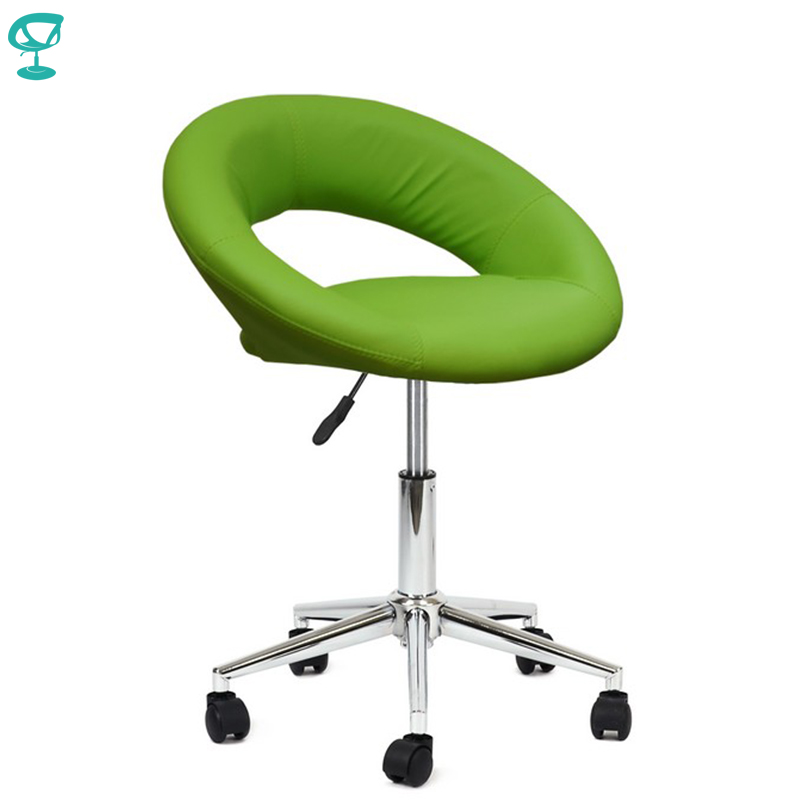 94696 Barneo N-84 Leather Roller Kitchen Chair Swivel Bar Chair Light Green Color Free Shipping In Russia