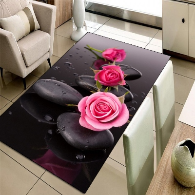 Else Black Spa Stones Pink Roses Floral Flowers 3d Print Non Slip Microfiber Living Room Decorative Modern Washable Area Rug Mat