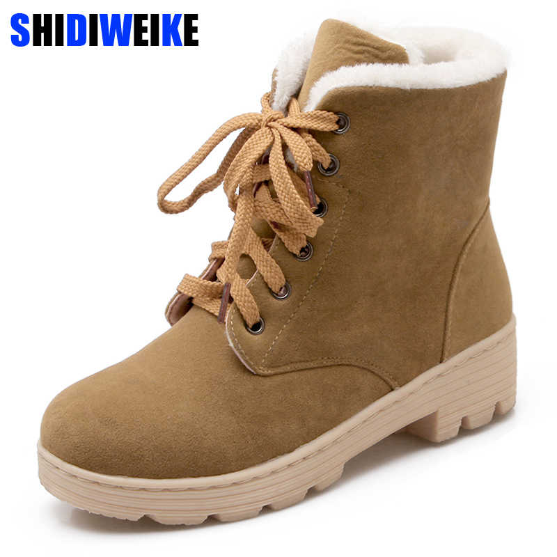 6b83ca045 Модные теплые зимние сапоги 2019 каблуке зимние ботинки Новое поступление  водонепроницаемые женские ботильоны женская обувь n032
