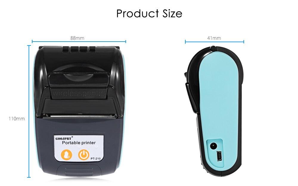 √GOOJPRT PT-210 58MM Bluetooth Thermal Printer Portable