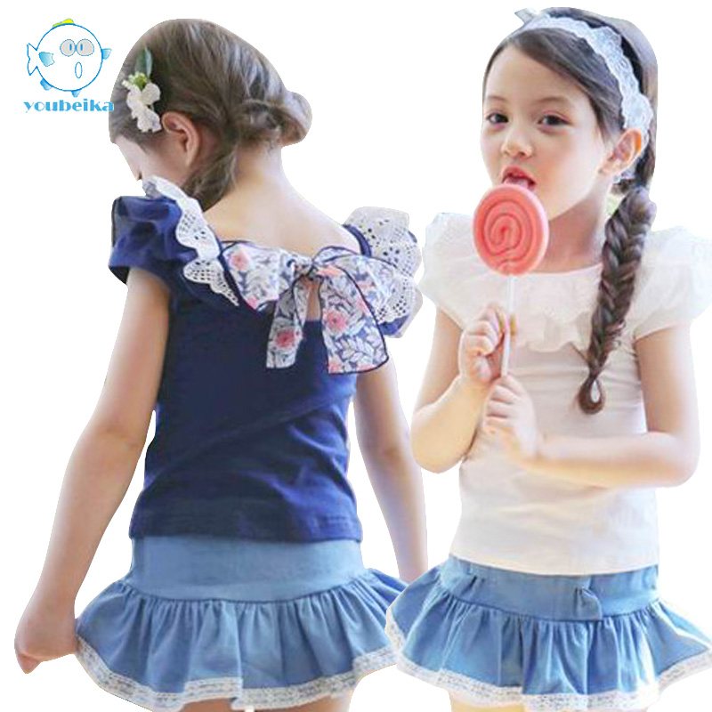 2017 New Baby Girl Clothing Set Cotton 2 Pcs Short Sleeve And Leggings With Skirt Children Girl Clothing Sets Kids Summer Sets 2017 summer new children baby girl clothing denim set outfits short sleeve t shirt overalls skirt 2pcs set clothes baby girls