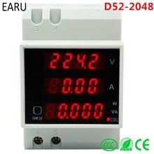 D52-2048 din-рейка светодиодный измеритель тока активный коэффициент мощности энергии Амперметр Вольтметр переменного тока 80-300 В 0-100.0A 200a Калибр DIY