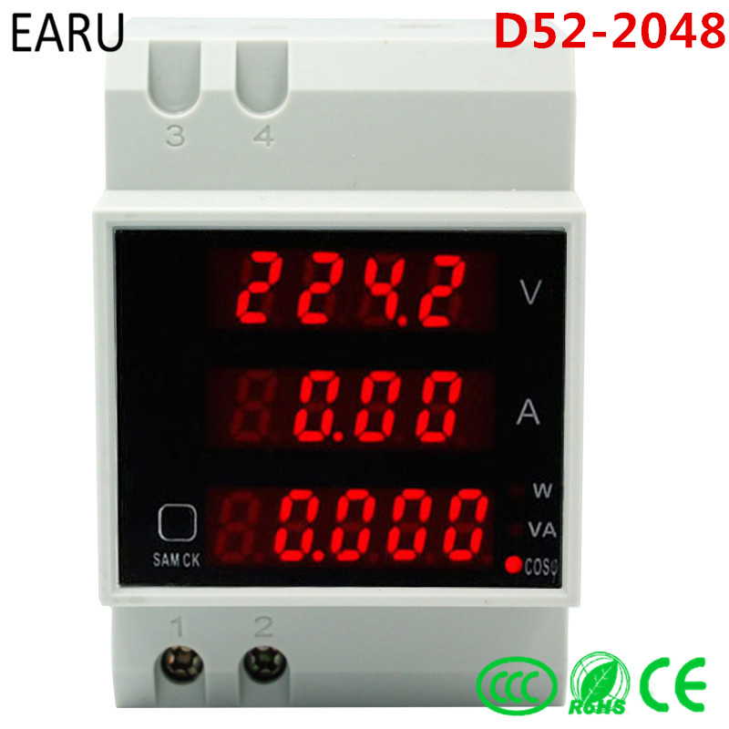купить D52-2048 Din rail LED Volt current Meter Active Power Factor Energy Ammeter Voltmeter AC 80-300V 0-100.0A 200a Gauge DIY по цене 660.26 рублей
