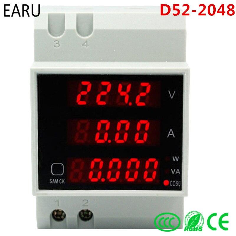 D52-2048 Din rail LED voltímetro de corriente voltímetro de energía de Factor de potencia activo AC 80 V 300 0-100.0A 200a calibre DIY