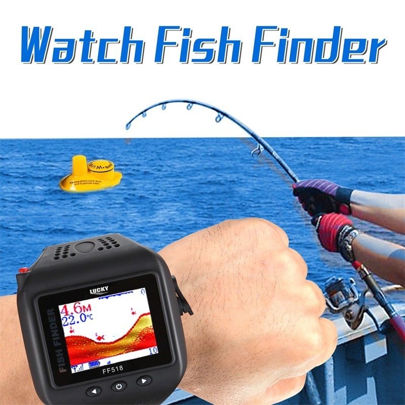 Lucky FF518 Portable Fish Finder Watch 60m Wrist Wireless&Clock Mode Fishfinder combo Fishing Tool Fishing Accessories Pesca