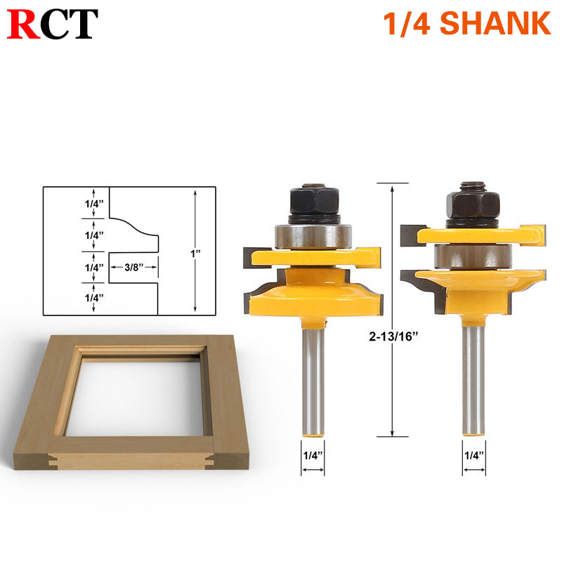 2 Bit Rail and Stile Router Bit Set - 1/4 Shank  door knife Woodworking cutter Tenon Cutter for Woodworking Tools RCT high grade carbide alloy 1 2 shank 2 1 4 dia bottom cleaning router bit woodworking milling cutter for mdf wood 55mm mayitr