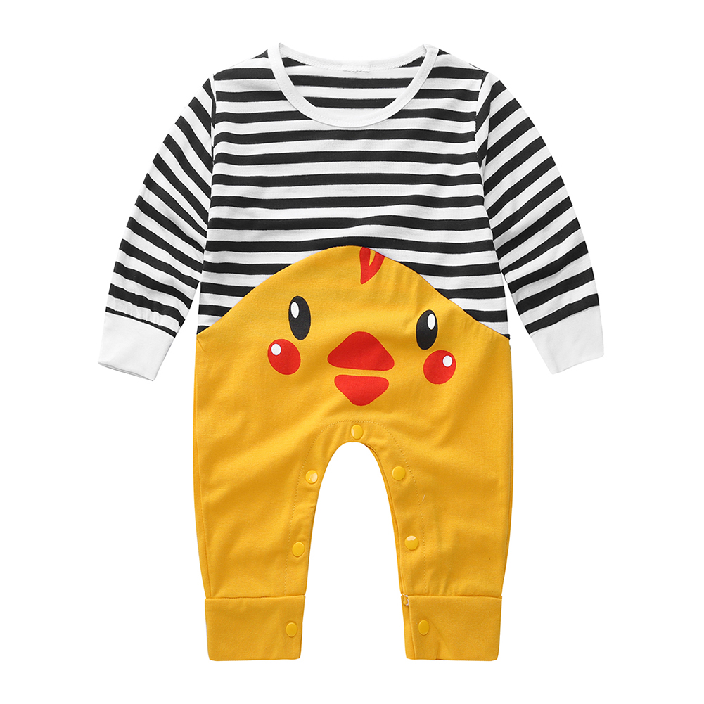 6d2cf271566 Cute Infant Baby Chicken Printed Stripe Romper Jumpsuit Hat Kids Outfits  Sets on Aliexpress.com