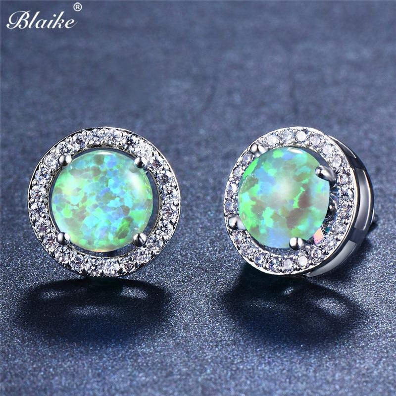 Cute Round Ocean Blue Fire Opal Silver Jewelry Dangle Boucles d/'oreilles pendantes