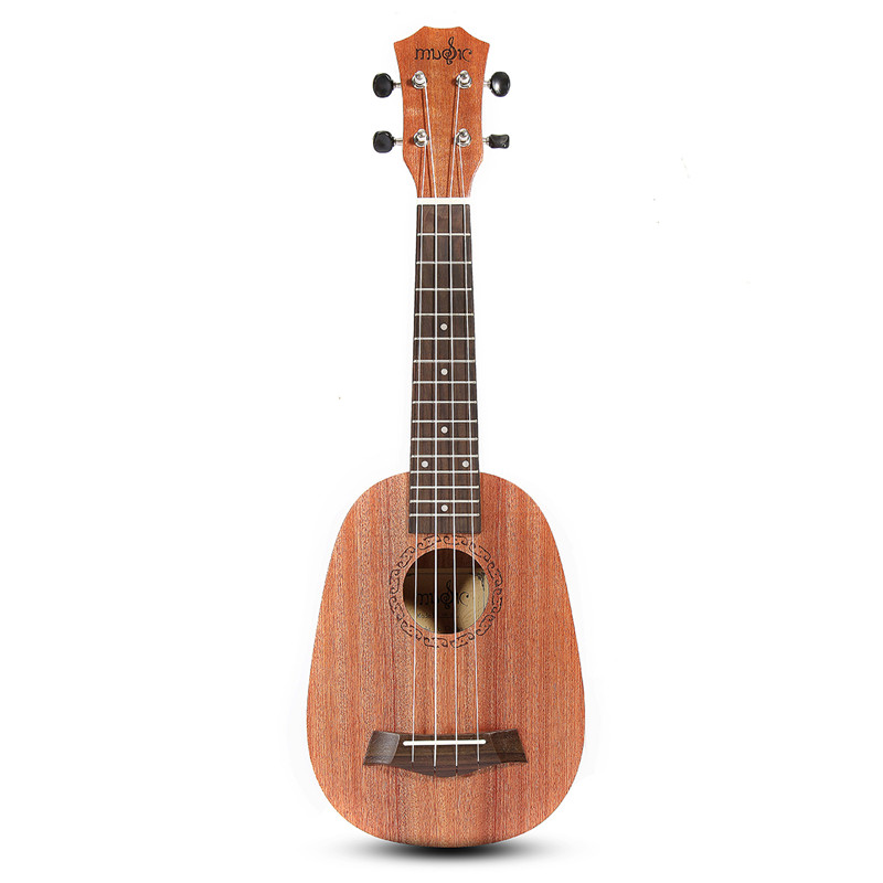 Zebra 21'' Pineapple Style Mahogany Hawaii Ukulele Uke Electric Bass 4 Strings Guitar Guitarra For Musical Stringed Instruments moonembassy ukulele bass strings ubass string accessories