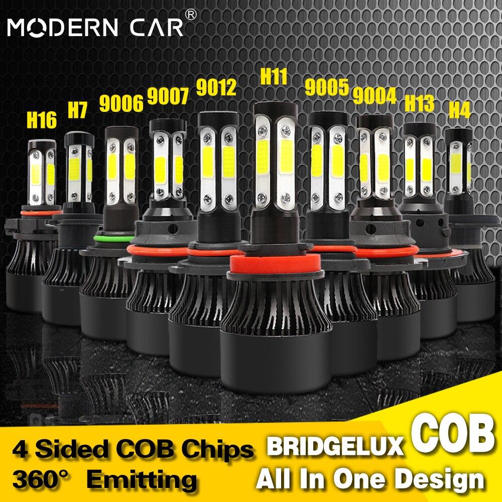 Modern Car 4Side COB Auto Car Headlight Bulb H7 Led H11 9005 9006 9012 Headlamp High Low Beam H4 H13 9004 9007 Headlights 6000K in Car Headlight Bulbs LED from Automobiles Motorcycles