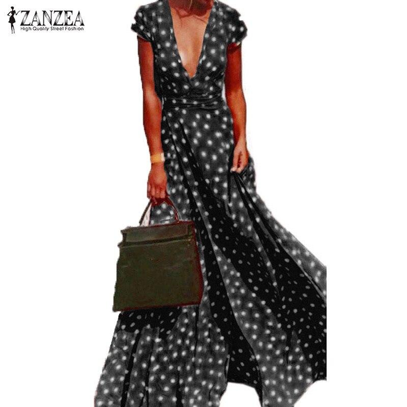 Осень 2019 г. ZANZEA для женщин платье в горошек короткий рукав Sexy Глубокий V разделение Vestido пляжные вечерние элегантные длинные платья плюс разм...